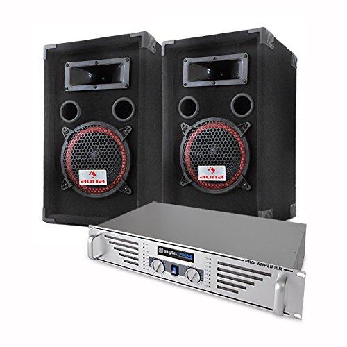 Elektronik-Star DJ/PA Komplettset Basic mit PA-240 480W PA-Verstärker Anlage und 1000W PA-Boxen + Mikrofon & Kabelset