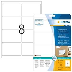 Herma 10018 Étiquettes movables/amovibles 99,1 x 67,7 A4 200 pièces Blanc