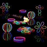 Relaxdays 100 Knicklichter inkl. 104 x 3D-Verbinder, 8 h Leuchtdauer, Glow Stick, Leuchtstäbe Profiqualität, 7-Farb-Mix