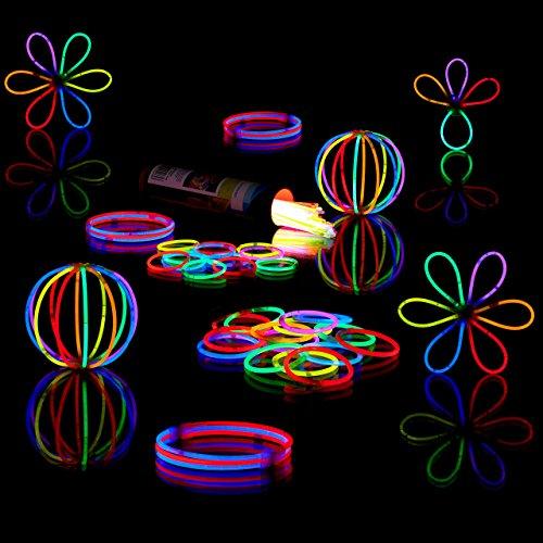Relaxdays 100 Knicklichter inkl. 104 x 3D-Verbinder, 8 h Leuchtdauer, Glow Stick, Leuchtstäbe Profiqualität, 7-Farb-Mix (Armbänder Glow Blau)