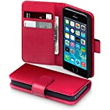 Apple iPhone 5/5S/SE Real Leather Wallet Case / Cover / Pouch / Holster with Card Slots & Bill Compartment - Red