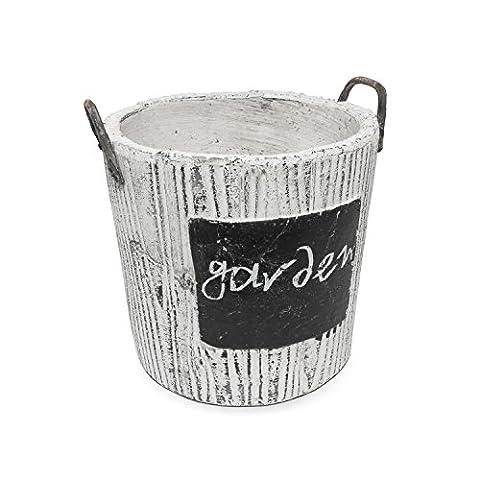 Pot de fleur céramique serie Rustic de POLNIX imitation beton hauteur 15 cm forme rond diametre 14