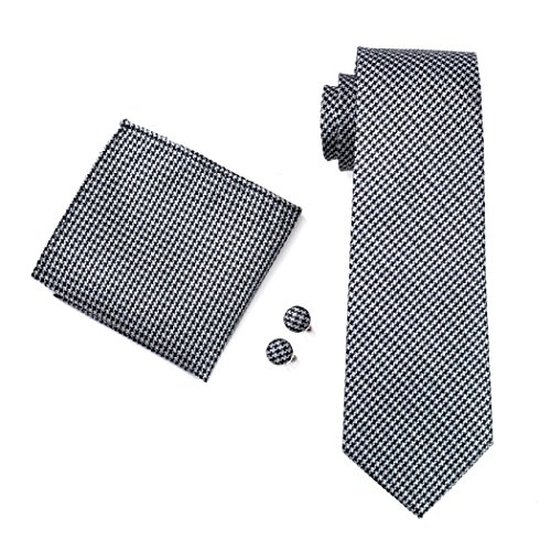 CAOFENVOO Jacquard Gewebte Seide Necktie Set Schwarz Krawatte Taschentuch Manschettenkn?pfe N-0982 (Schwarz Geometrische Seidenkrawatte)