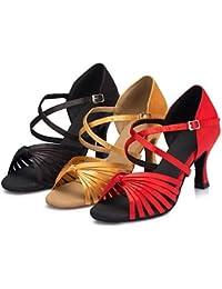 T.T-Q Zapatillas de Baile para Mujer Samba Ballroom Satin Heel Negro Amarillo Rojo Sandalias Latinas Salsa Jazz...