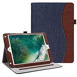 Fintie Hülle für iPad 9.7 Zoll 2018 2017 / iPad Air 2 / iPad Air - [Eckenschutz] Multi-Winkel Betrachtung Folio Stand Schutzhülle Case mit Dokumentschlitze, Auto Wake/Sleep, Denim Indigoblau
