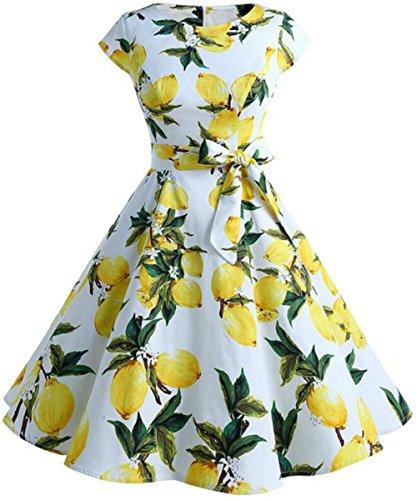 FANTIGO Damen Vintage 50er Cap Sleeves Blumenmuster Rockabilly Swing Kleider White 2XL (Sleeve Cap Dress White)