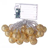 Battery Operated 30 LED Fairy Globe Lantern Gold Moroccan Orb String Lights for Wedding Christmas Party wedding Warm white