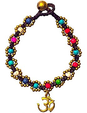 Armband Flower mit Om bunt, Messing Perlen, 20cm