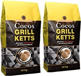 20kg Cocos Grillketts Premium Holzkohle Grillbriketts aus Kokos Kohle - extra lange Brenndauer - ideal für Dutch Oven, Smoker und Lotus-Grill