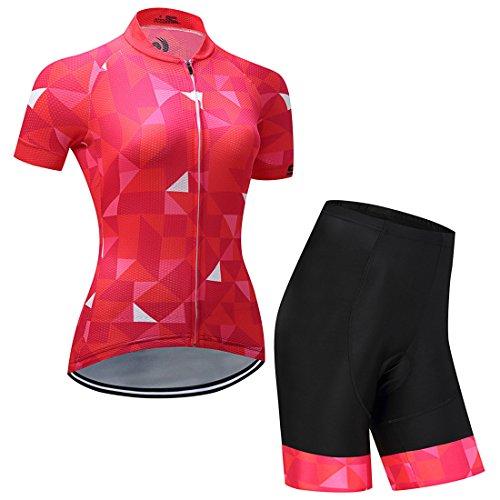 GWELL Damen Blumen Radtrikot Fahrradbekleidung Set Trikot Kurzarm + Radhose mit Sitzpolster rot-2 M