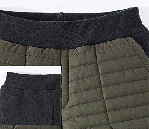 YAANCUN Donna Colore Puro Elasticizzato Comodo Leggings Più Velluto Addensare Caldo Leggins con Pantaloni Corti con Tasca Verde