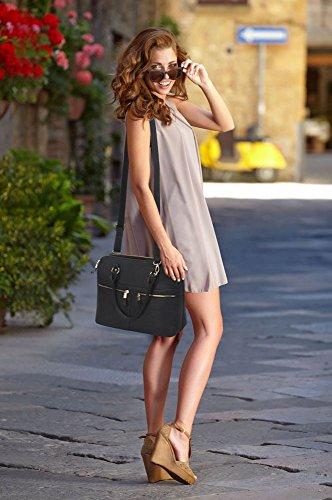 Leahward® Ladies Fashion Essener Celebrity Tote Bag Ecopelle Borse Nere