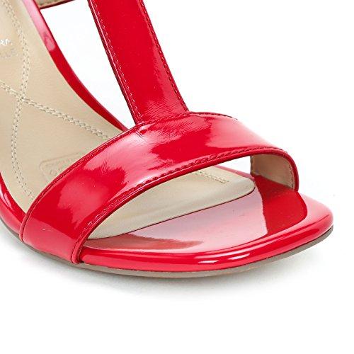Alesya Scarpe&Scarpe - Sandales Hautes avec T-Bar et Talon Grand, à Talons 8 CM Rouge
