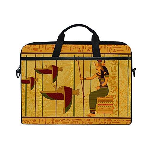 jstel Antik Ägyptische Papyrus und hieroglyphenschrift Laptop Schulter Messenger Tasche Fall Sleeve für 35,6cm zu 39,6cm mit verstellbarer Notebook Schultergurt (Ägyptische Tasche)