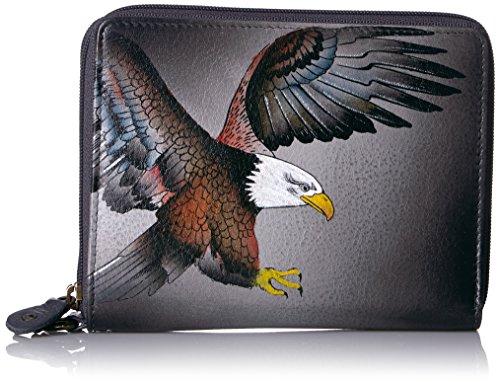 Anuschka Handgemalte Luxus-Leder RFID BLOCKING ZIP-Around ORGANIZER Clutch Brieftasche (American Eagle 1143 AME) -