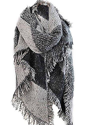 Babysbreath Frauen Schal lange große übergroße Quaste weiche warme Patchwork dicke Stil Herbst Winter Pashmina Decke Wrap Poncho Schal Cape Grau