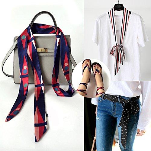 Multifunktional Modischer Damen-Schal Long Skinny dünn Krawatte Schärpe Schals Seidiger Satin Halstuch Tasche Band für Weihnachten Geschenk