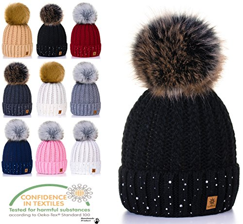 d8f93c73905 4sold Womens Ladies Winter Hat Wool Knitted Beanie with Large Pom Pom Cap  Ski Snowboard Hats Bobble Gold Circle Little Crystals