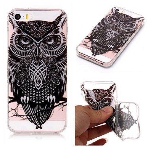 iPhone 5S Hülle, Voguecase Silikon Schutzhülle / Case / Cover / Hülle / TPU Gel Skin für Apple iPhone 5 5G 5S SE(Bunt Schmetterling 07) + Gratis Universal Eingabestift Schwarze Eule
