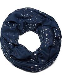 styleBREAKER Loop Schlauchschal mit glitzerndem Metallic Sterne All Over Print Muster, Schal, Tuch, Damen 01016118