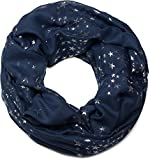 styleBREAKER Loop Schlauchschal mit glitzerndem Metallic Sterne All Over Print Muster, Schal, Tuch, Damen 01016118, Farbe:Dunkelblau