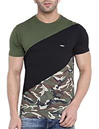 Gritstones Men's Multi Color Half Sleeves Ranglan Army Print T Shirt-GSPNTTSHT1702OGRNBLK
