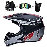LETU Motocross-Helm für Erwachsene MX-Motorradhelm ATV-Roller ATV-Helm D.O.T Zertifizierter Fuchs Rosa Schutzbrille Handschuhe Maske (S, M, L, XL),V4,S55~56CM