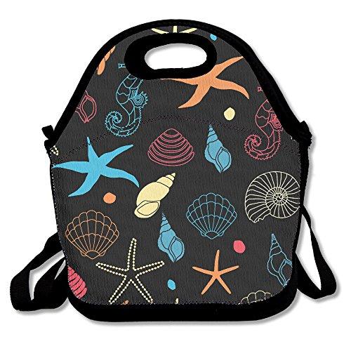 futonghuaxia estrella de mar Conchas interesante al aire libre bolsa para el almuerzo térmico caja de almuerzo con aislamiento bolso más fresco bolsa de almuerzo Picnic bolsa almuerzo Tote, para la escuela oficina de trabajo, regalo para las mujeres