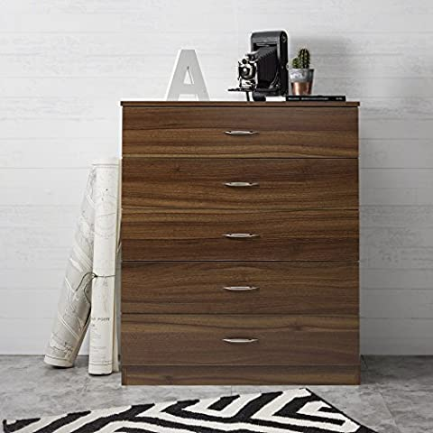 Laura James | Tall Chest of Drawers | 5 Drawer | Bedroom Furniture (WALNUT/ESPRESSO)