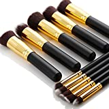 AGM®-10-Pcs-Professional-Handle-Cosmetic-Kabuki-Makeup-Foundation-Blending-Brush-Set-Kit.-(Black+Gold)