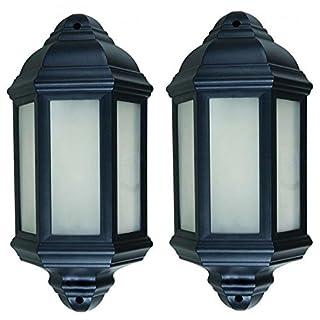 2x brackenheath Outdoor schwarz traditionellen Stil 7Watt Tageslicht LED Wand Hälfte Laterne integrierter LED Diffuses deckt ideal für Deko Viktorianischer Außeneinsatz Garten Veranda