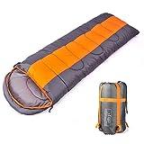 Camping Schlafsack, 3Jahreszeiten-Schlafsack mit Kapuze Umschlag, Indoor & Outdoor Erwachsene Winter Schlafsack für Rucksackreisen Wandern Reisen mit Kompression Tasche
