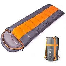 Camping saco de dormir, sobre 3 temporada saco de dormir con capucha, interior y al aire libre adulto saco de dormir de invierno para mochila senderismo viajes con bolsa de compresión (Orange/Grey)