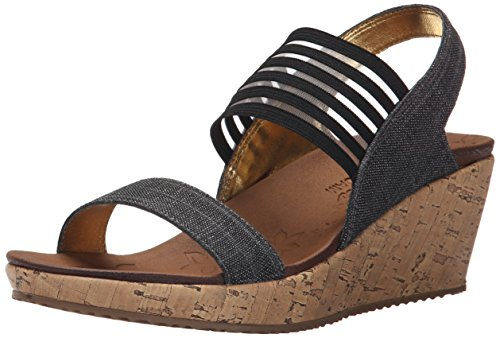 Skechers Beverlee Smitten Kitten Womens Wedge Heel Sandals 7 UK/40 EU Schwarz (Schwarz Skechers-wedges)