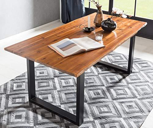 SalesFever Baumkanten-Tisch 140 x 80 cm | Cognac-Farben | Esszimmertisch aus massiver Akazie | Holz-Tisch mit schwarz lackiertem U-Gestell aus Metall