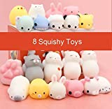 #7: Squishy Toys Squishy Cat Toys Mochi Cute Squishy Toy Squeeze Stress Reliever for Kids/Adults (Pack of 8)