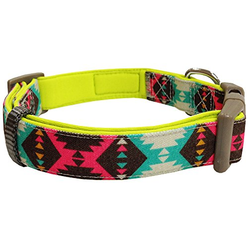 Blueberry-Pet-Soft-Comfy-Vintage-Tribal-Pattern-Adjustable-Neoprene-Padded-Dog-Collar-in-Extravagant-Green-Neck-30cm-40cm-Small-Collars-for-Dogs-Matching-Lead-Harness-Available-Separately