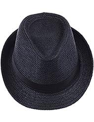 ETGtek(TM) Hombres Mujeres playa de la paja del visera del casquillo del sombrero de ala del sombrero con Jazz ala corta-Negro