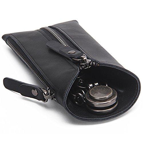 Contacts Echtes Leder-Reißverschluss-Münzen-Taschen-Geldbeutel-Auto-Schlüssel-Fall-Halter Keychain Wallet Schwarz (Leder Inhaber Münze)