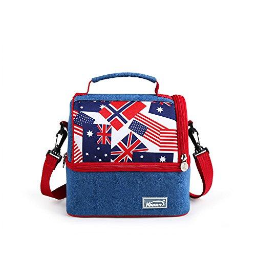 Brave Navigator Double-Deck Denim fashionable Flag Pattern Camping&Hiking Cooler Bag Mommy Bag