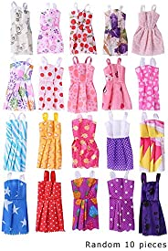 AFfeco 10Pcs Mix Style Doll Dresses Fashion Summer Party Princess Dolls Dress Set Lovely Doll Toy One Size