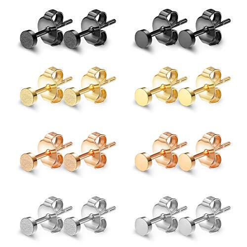 Finrezio 8 Parre Runde Ohrstecker Set aus Edelstahl für Damen Mädchen Herren Silber Gold Schwarz Rosegold 3mm -