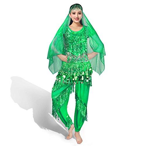 SymbolLife Belly professionnelle costume de danse, Halter Bra Top + Pantalon + Ceinture + longue echarpe Head Vert