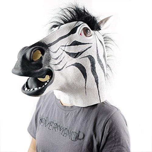 Ericoy Pferdemaske für Halloween Maske latex Tiermaske Pferdekopf Zebra