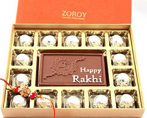 Zoroy Luxury chocolate Rakhi Gift embossed Chocolates Box with Rich Milk