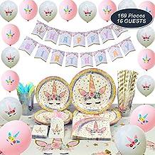 WERNNSAI Conjunto de Suministros de Fiesta de Unicornio - Cumpleaños para Niñas Bolsa de Cubiertos Mantel