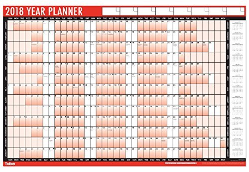2 x 2018 A1 Laminated Yearly Wall Planner Calendar Wipe Dry Pen & Sticker Dots