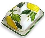 Lashuma handgemachte Butterdose aus Italienischer Keramik im Zitronendesign, Butterschale Größe: ca. 18 x 14 cm