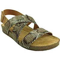 Natrelle Ladies Shauna Snake Print Strappy Open Toe Touch Close Sling Back Summer Sandals Size 3-8 (UK 7/ EU 40, Brown)
