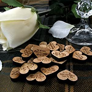 100 love heart decorations, wooden table decorations, wooden hearts, rustic wedding, vintage wedding
